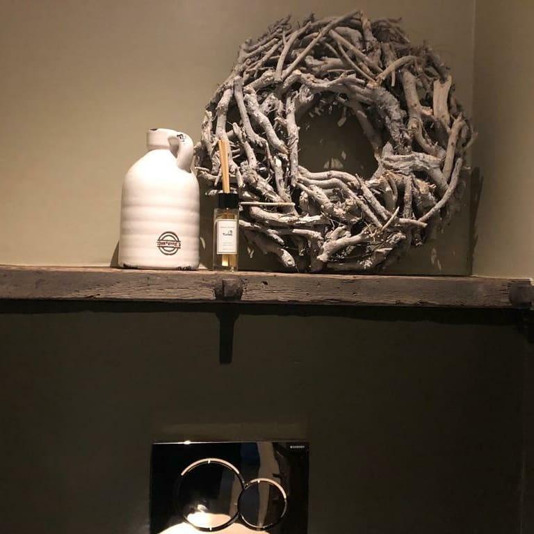 Massief robuuste eiken toilet plank/planchet + ijzers-2