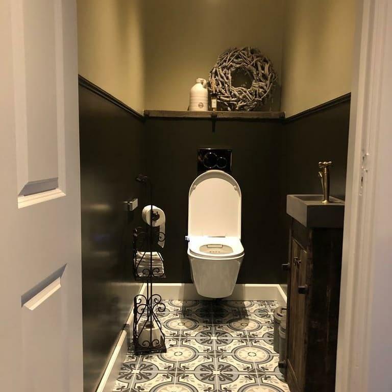 Massief robuuste eiken toilet plank/planchet + ijzers-3