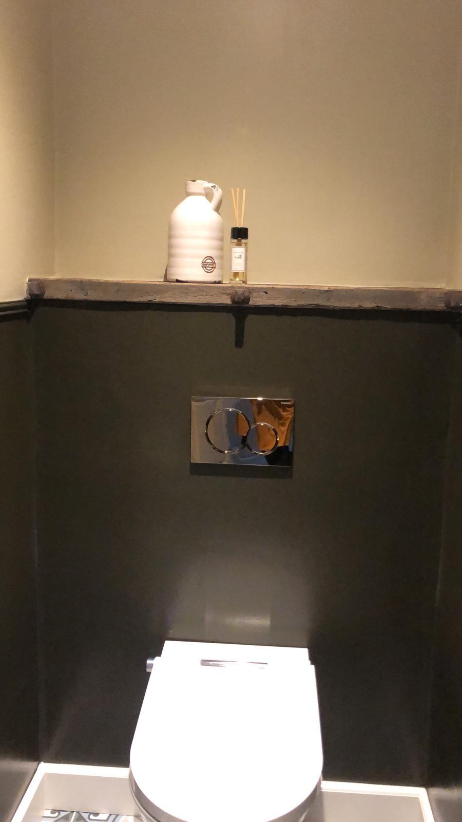 Massief robuuste eiken toilet plank/planchet + ijzers-4