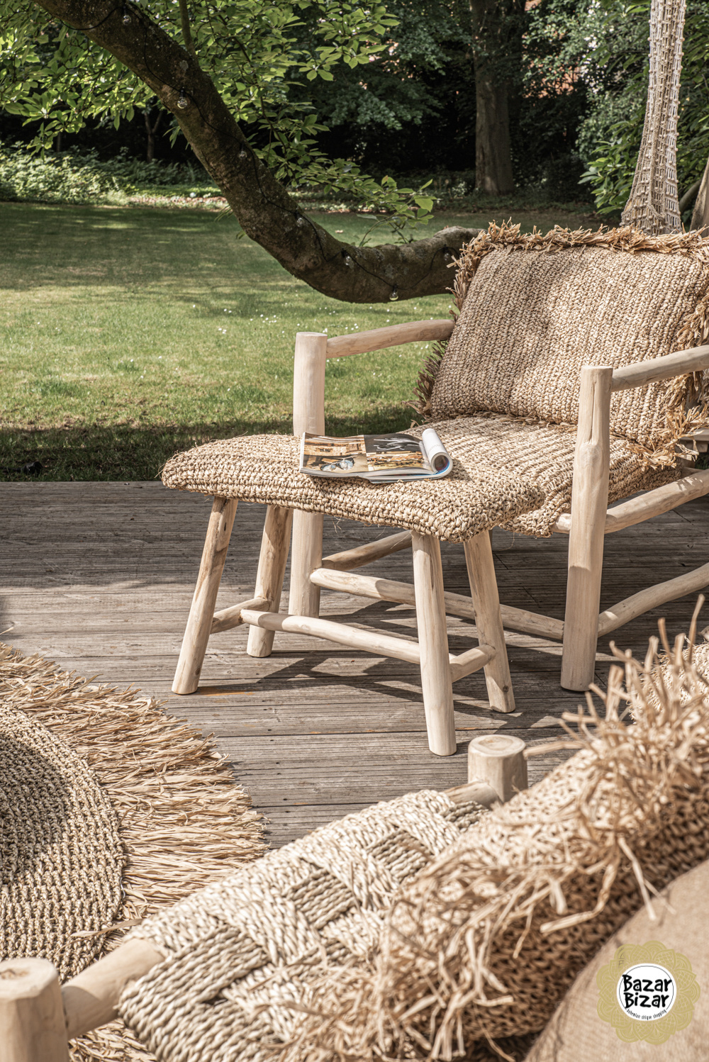 Raffia One Seater - Natural-3