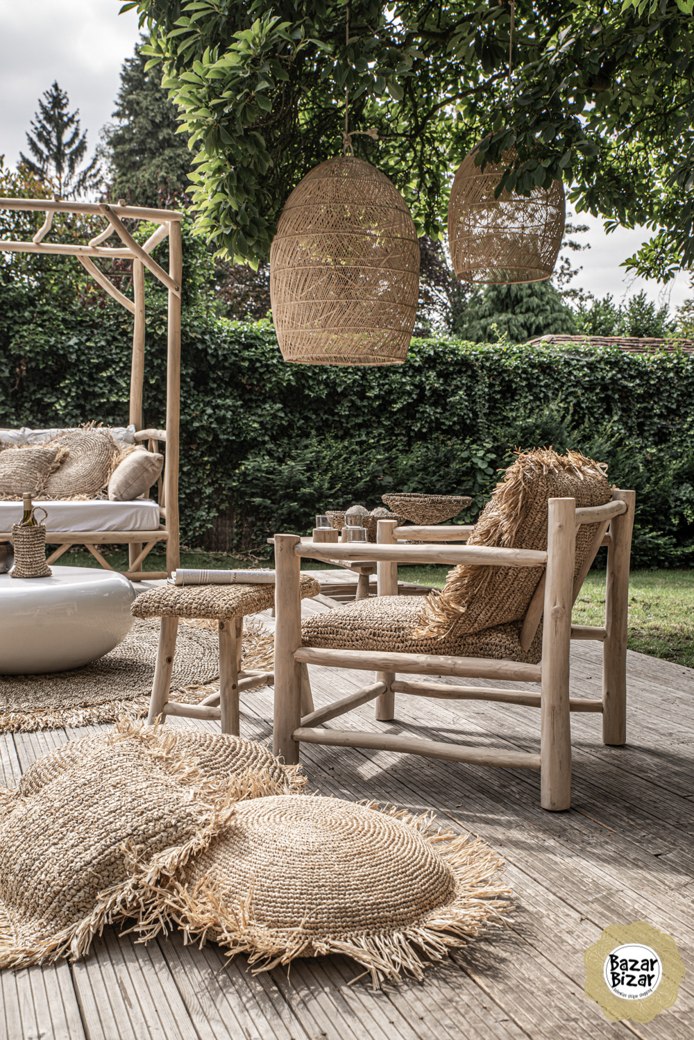 Raffia One Seater - Natural-1