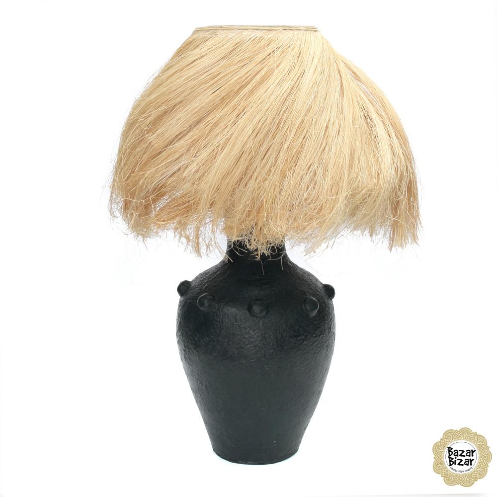 Abaca Tafellamp - Black Natural - 47 cm-4