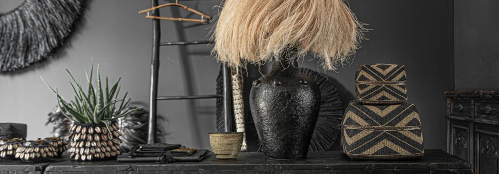 Abaca Tafellamp - Black Natural - 47 cm