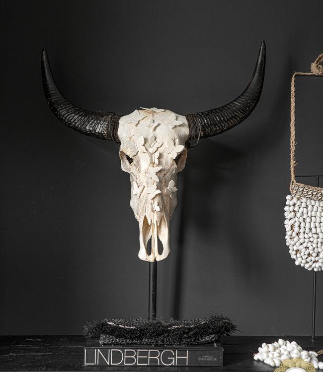 Bazar Bizar Buffel schedel met hoorns - SKULL- Wit - 65 cm