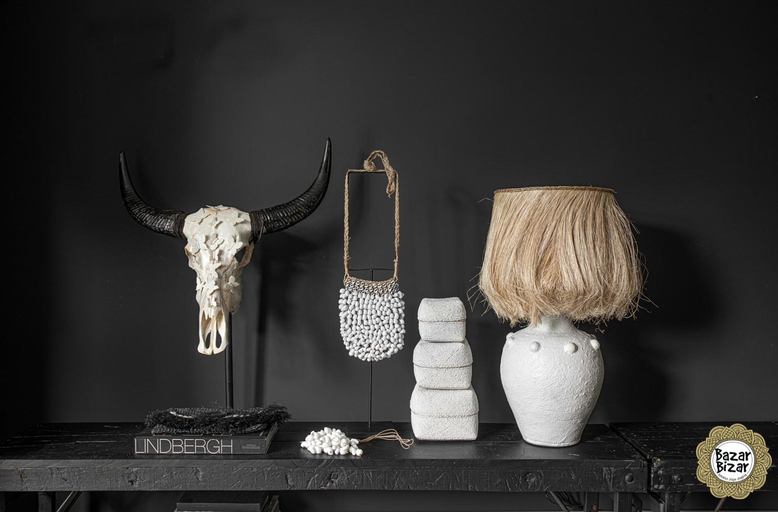 Buffel schedel met hoorns - SKULL- Wit - 65 cm-2
