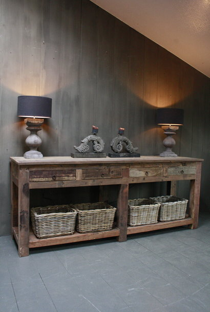 Sidetable Bassano oud hout met lades 226 x 60 x 90