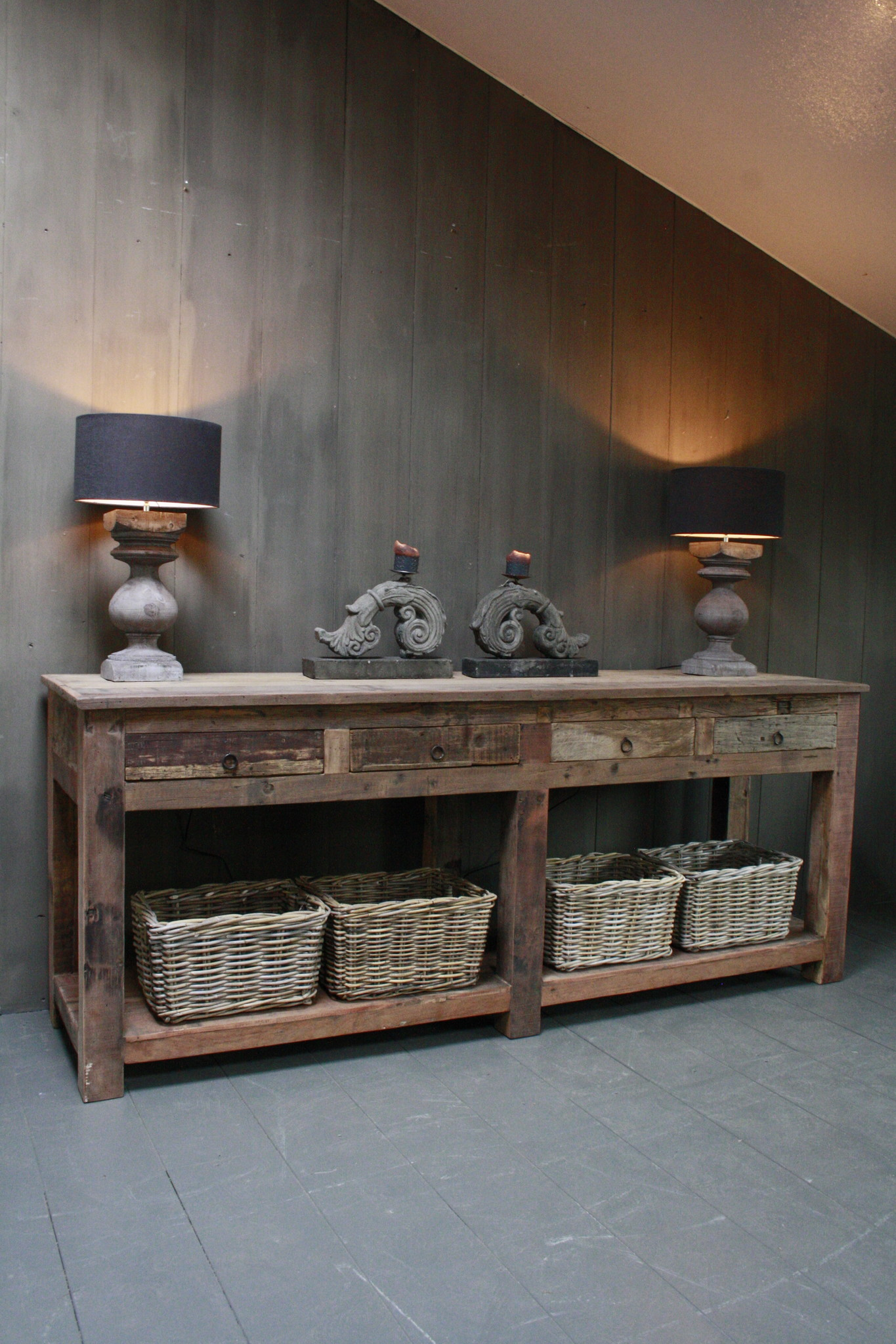 Sidetable Bassano oud hout met lades 226 x 60 x 90-1
