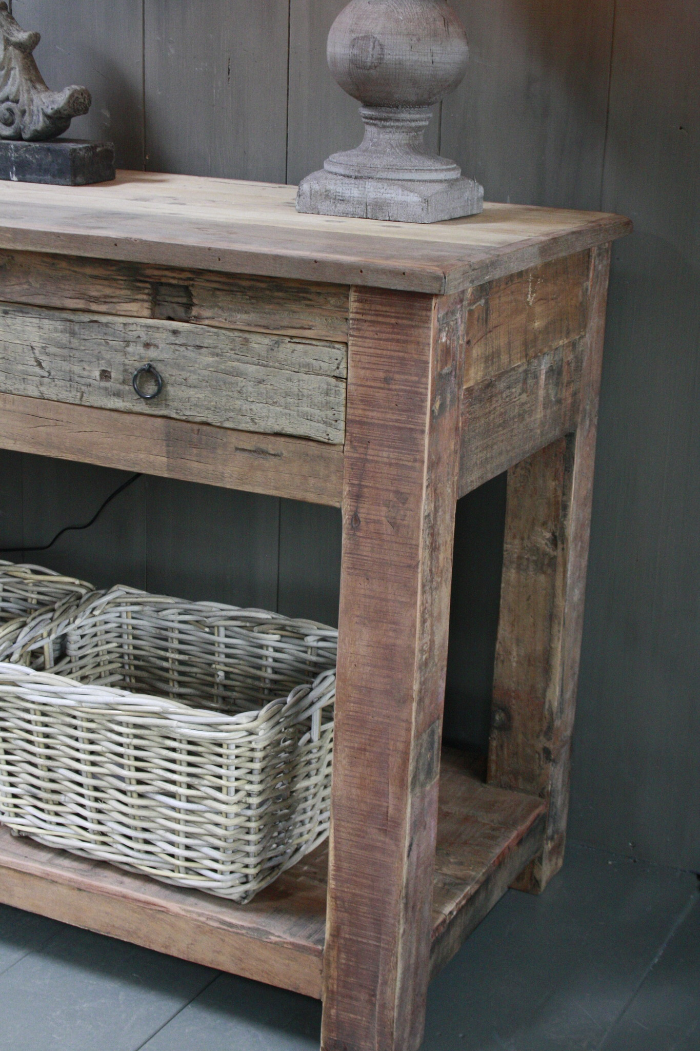Sidetable Bassano oud hout met lades 226 x 60 x 90-7