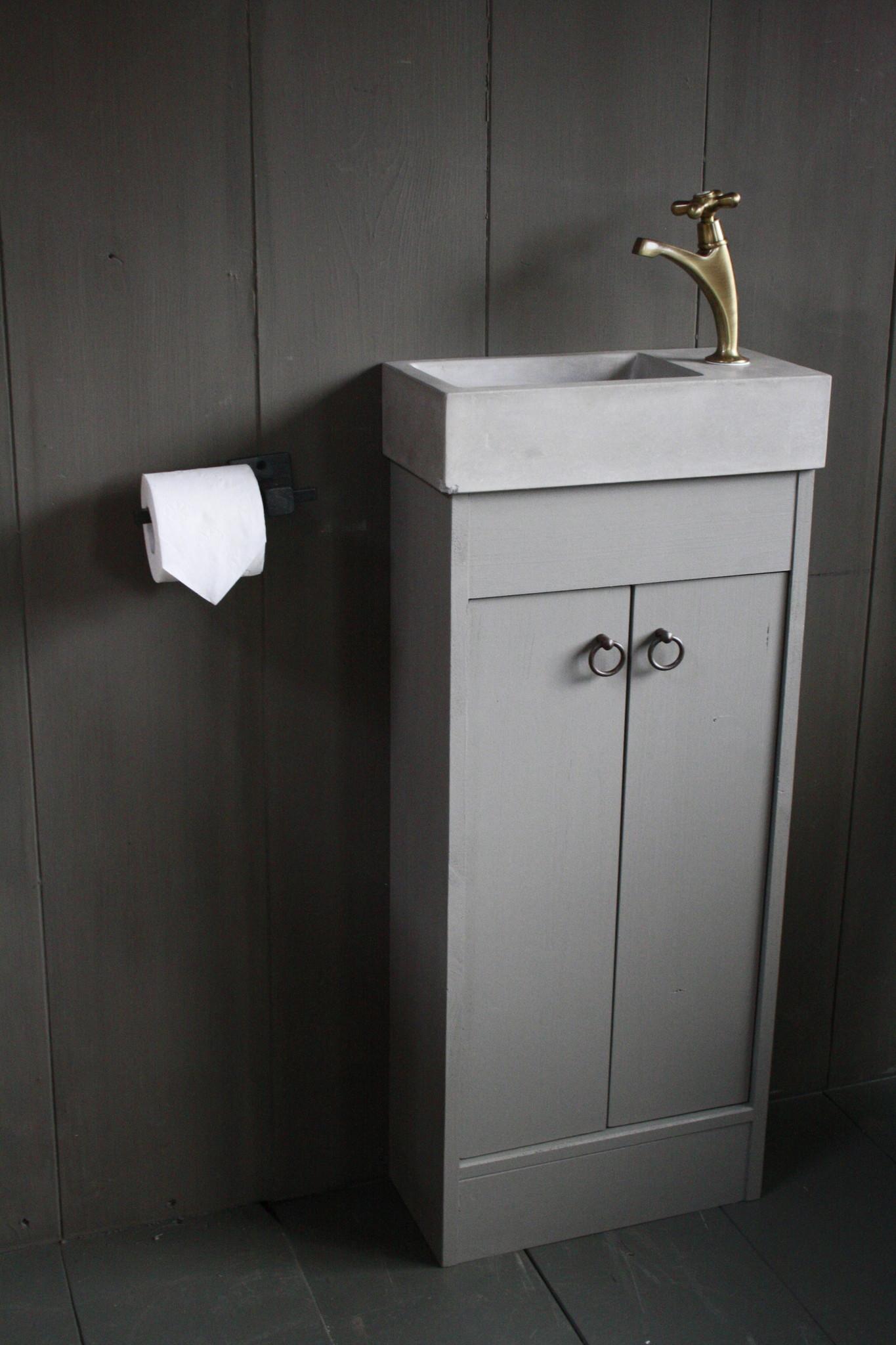 Landelijk toiletmeubel + fontein light grey 90 x 38 cm-1