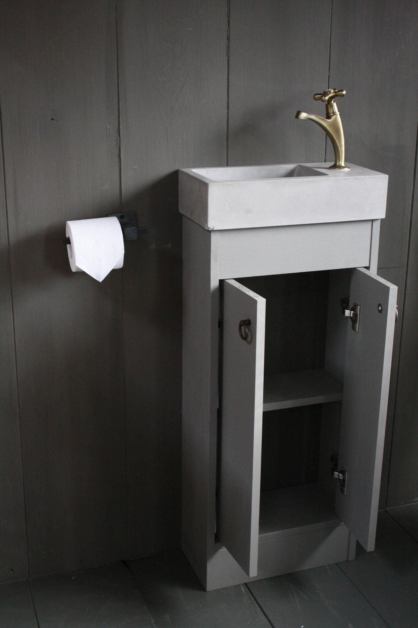 Landelijk toiletmeubel + fontein light grey 90 x 38 cm-2