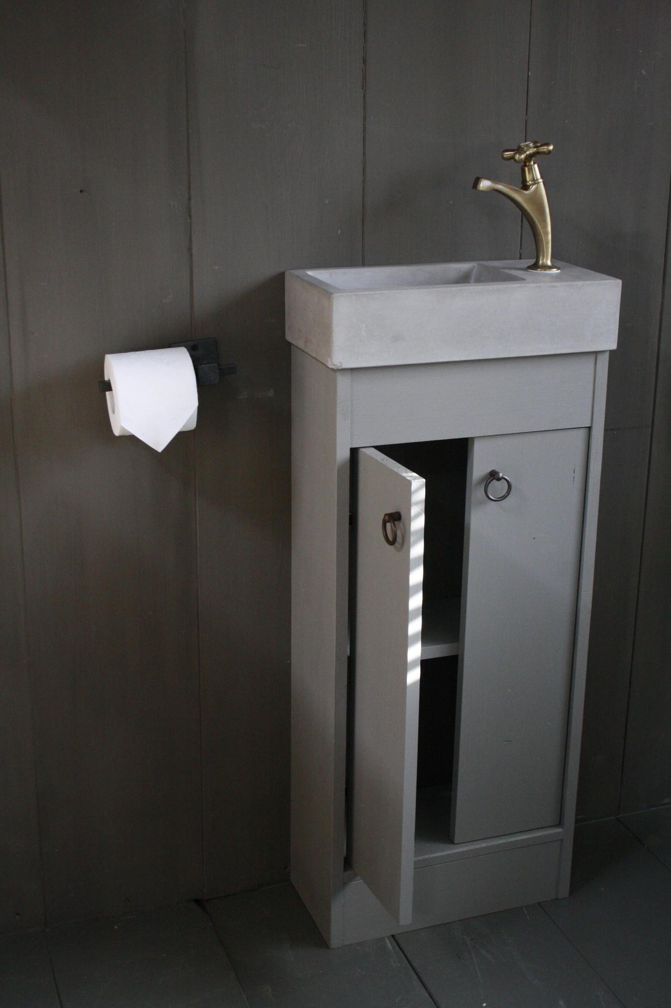 Landelijk toiletmeubel + fontein light grey 90 x 38 cm-3