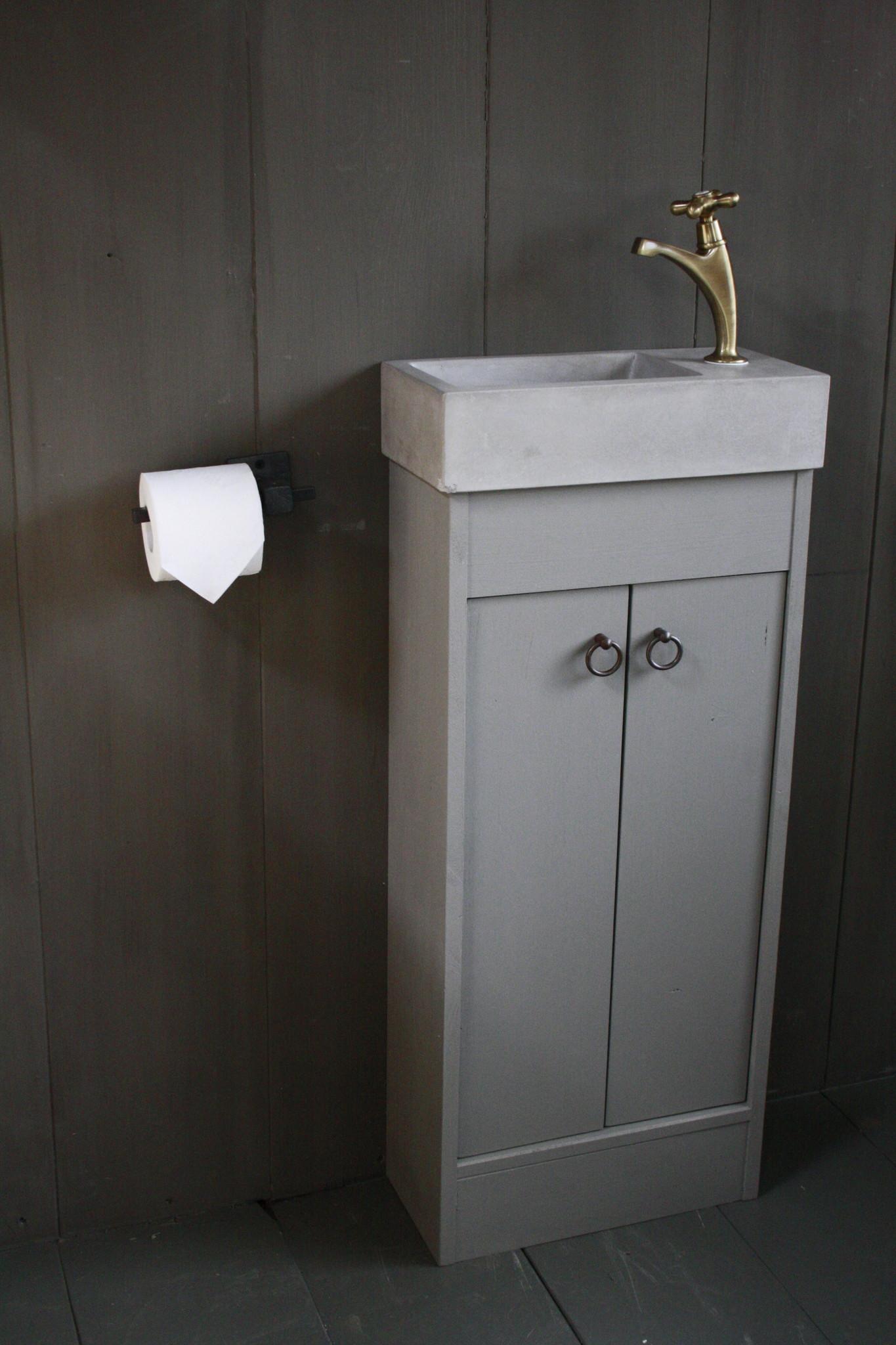 Landelijk toiletmeubel + fontein light grey 90 x 38 cm-4