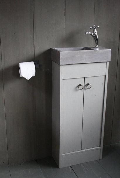 Landelijk toiletmeubel + fontein dark grey 90 x 38 cm