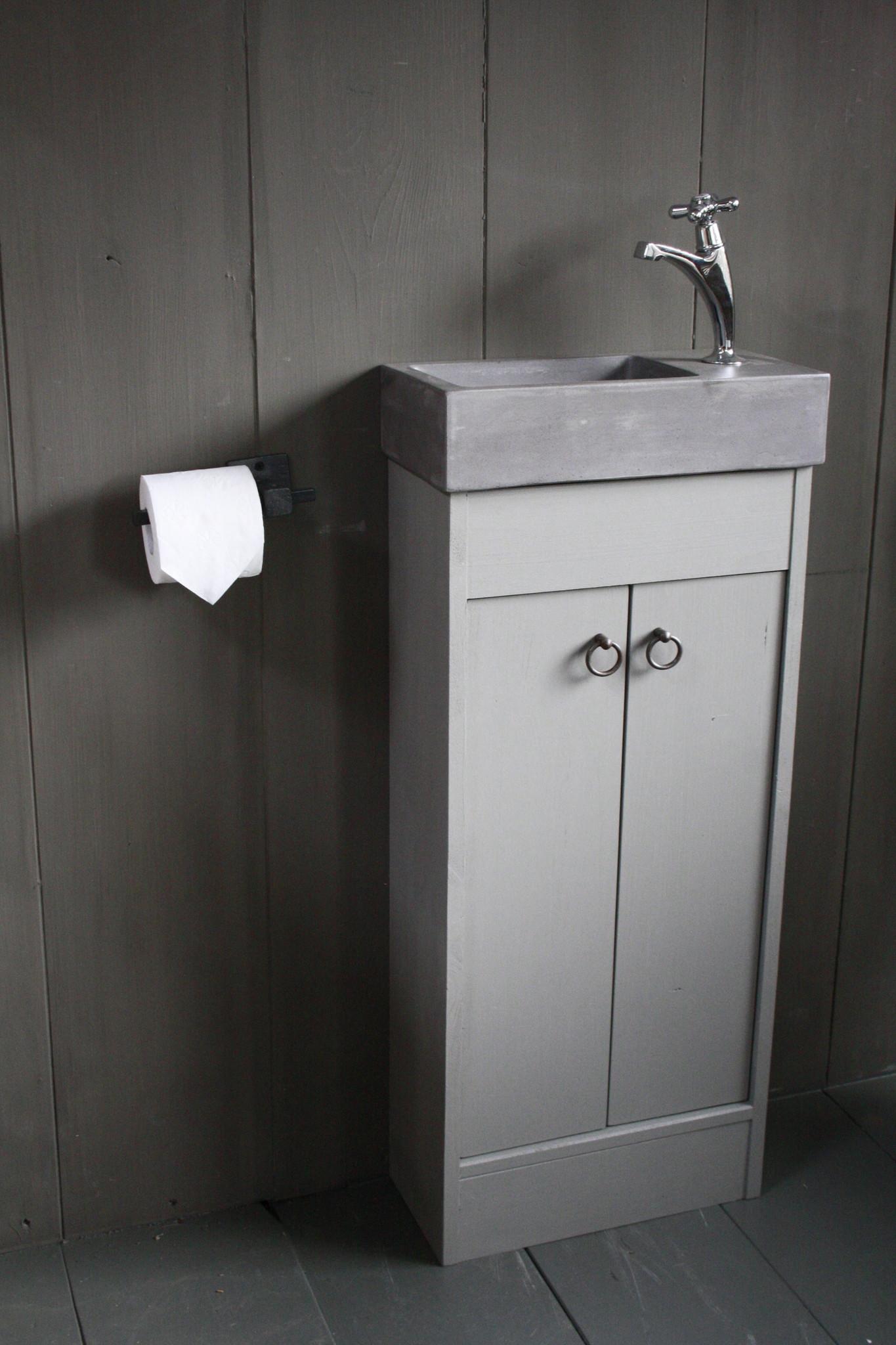 Landelijk toiletmeubel + fontein dark grey 90 x 38 cm-1