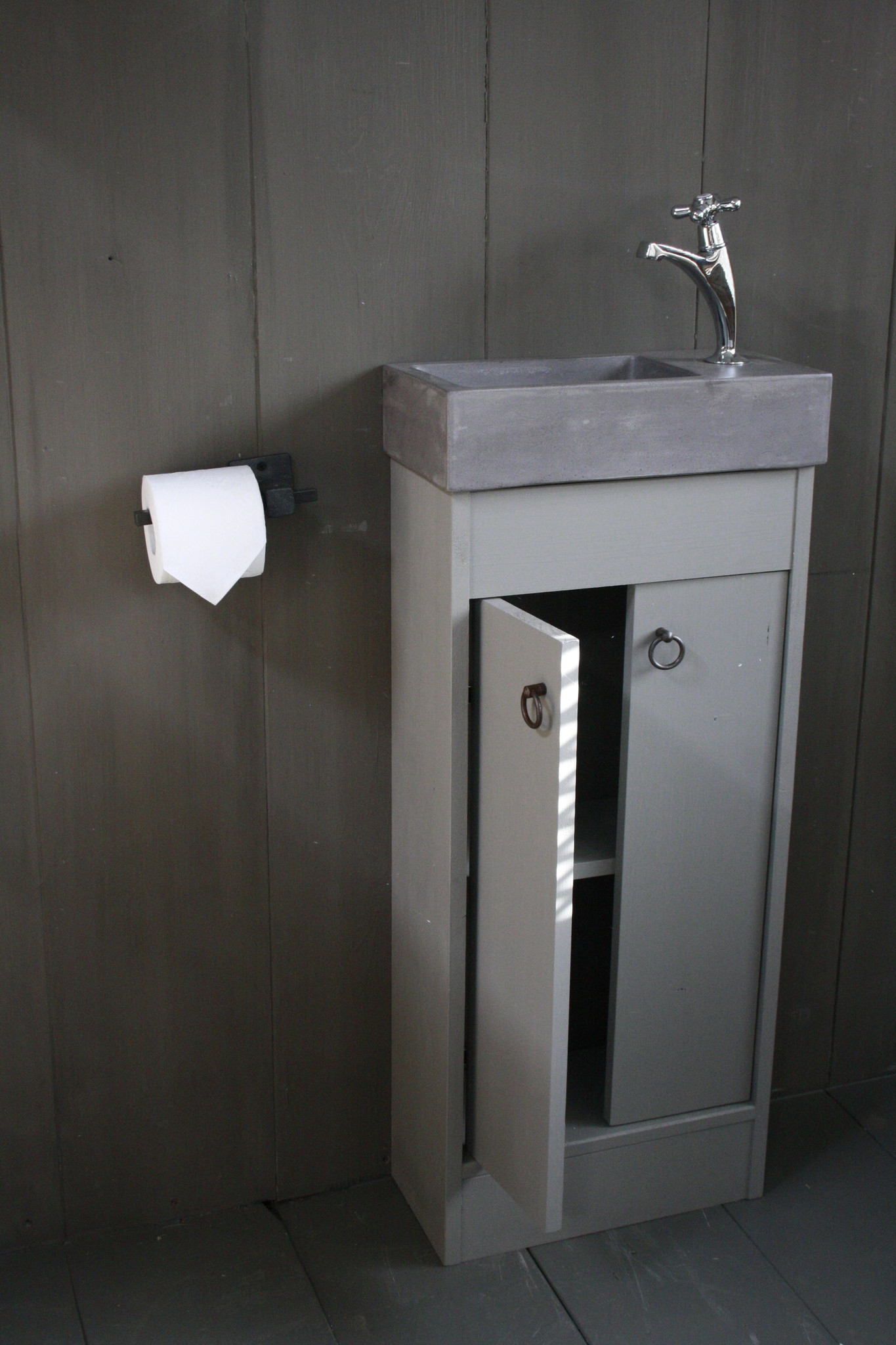 Landelijk toiletmeubel + fontein dark grey 90 x 38 cm-3