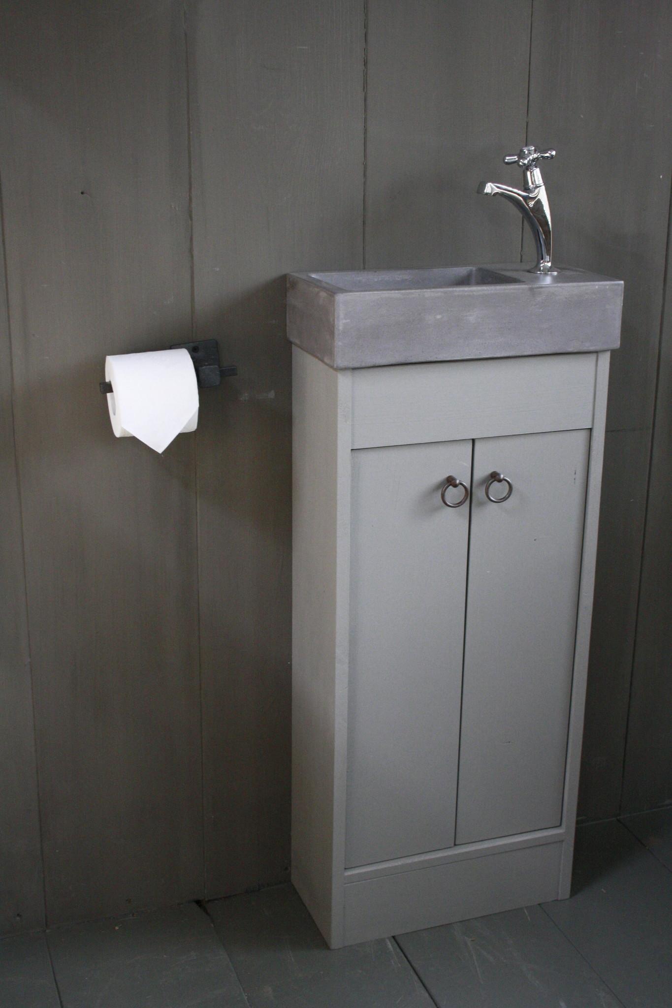 Landelijk toiletmeubel + fontein dark grey 90 x 38 cm-4