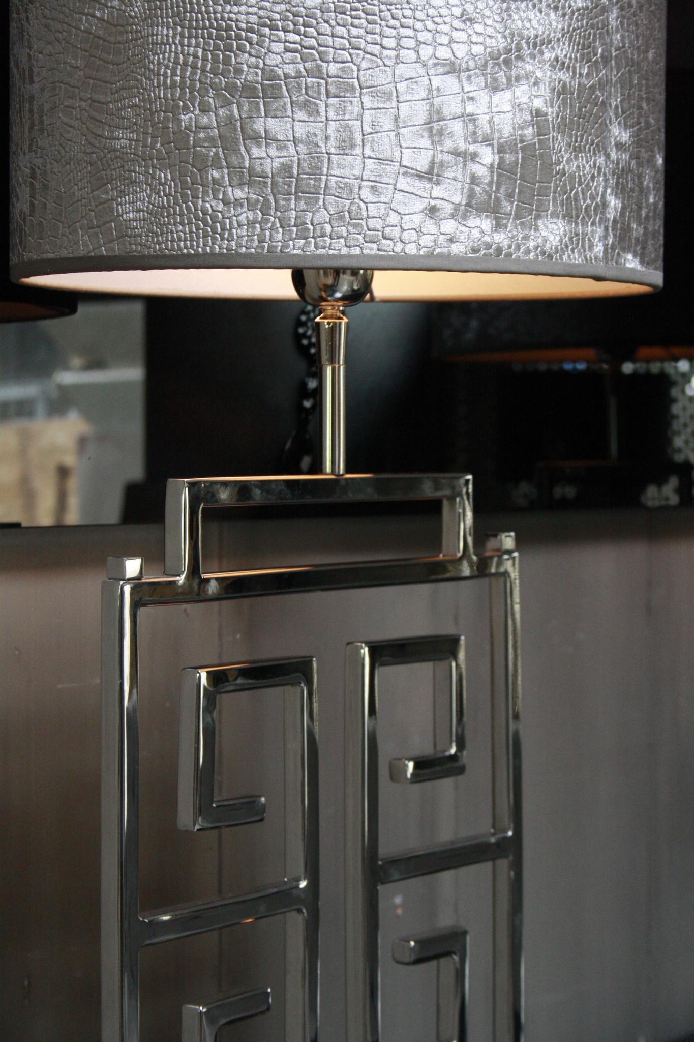 *Uitverkocht Tafellamp RVS + Velours kap Eric Kuster Stijl-5