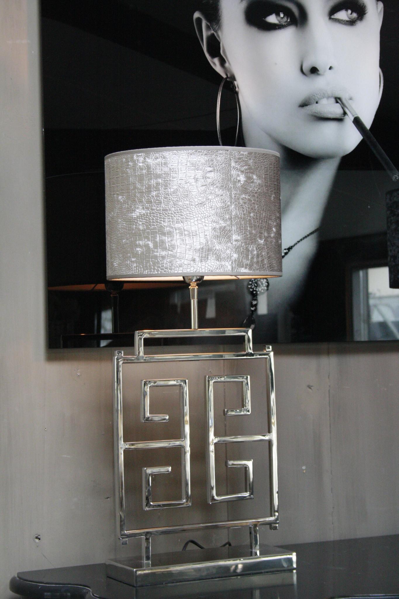 *Uitverkocht Tafellamp RVS + Velours kap Eric Kuster Stijl-2