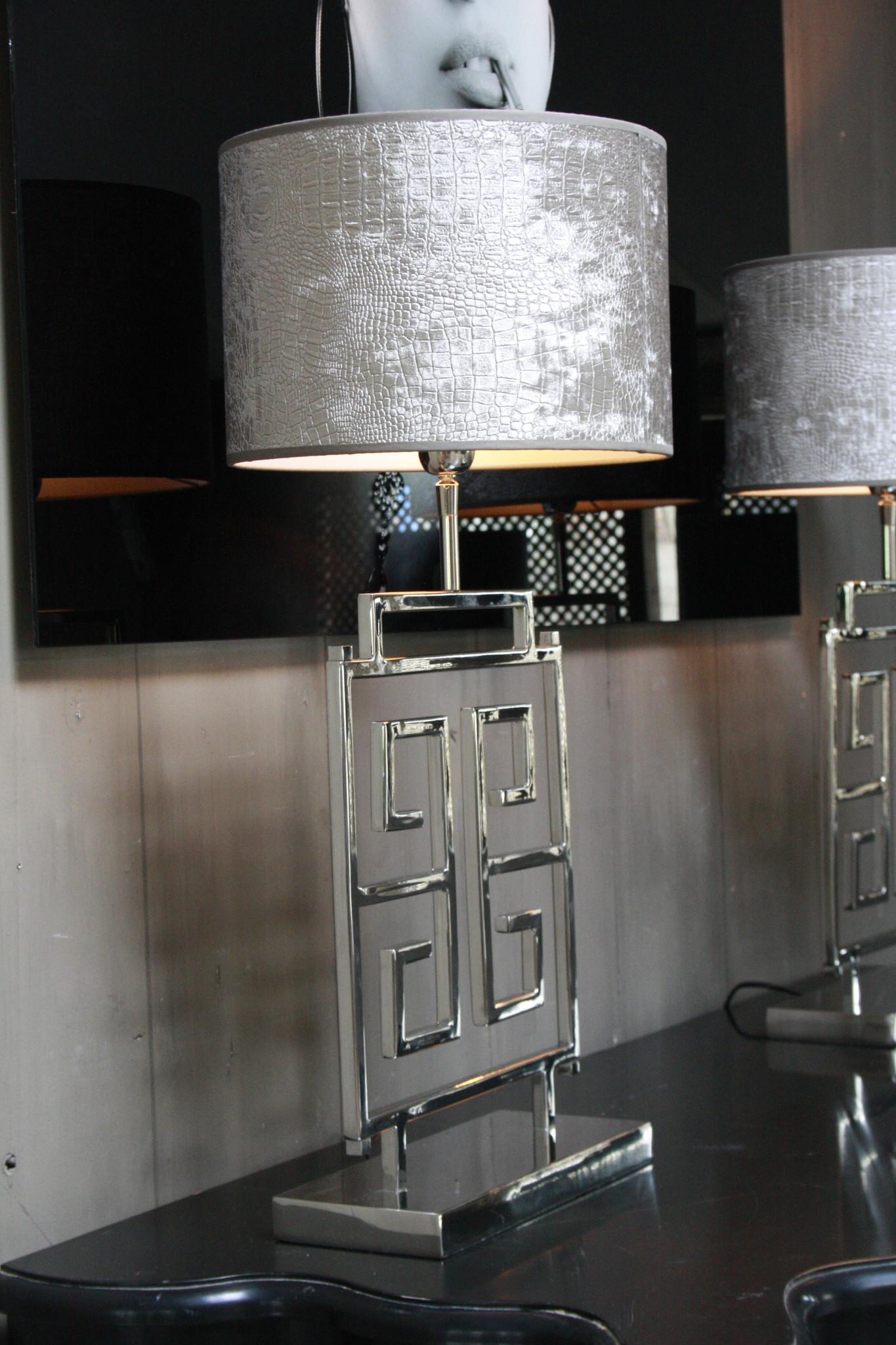 *Uitverkocht Tafellamp RVS + Velours kap Eric Kuster Stijl-3