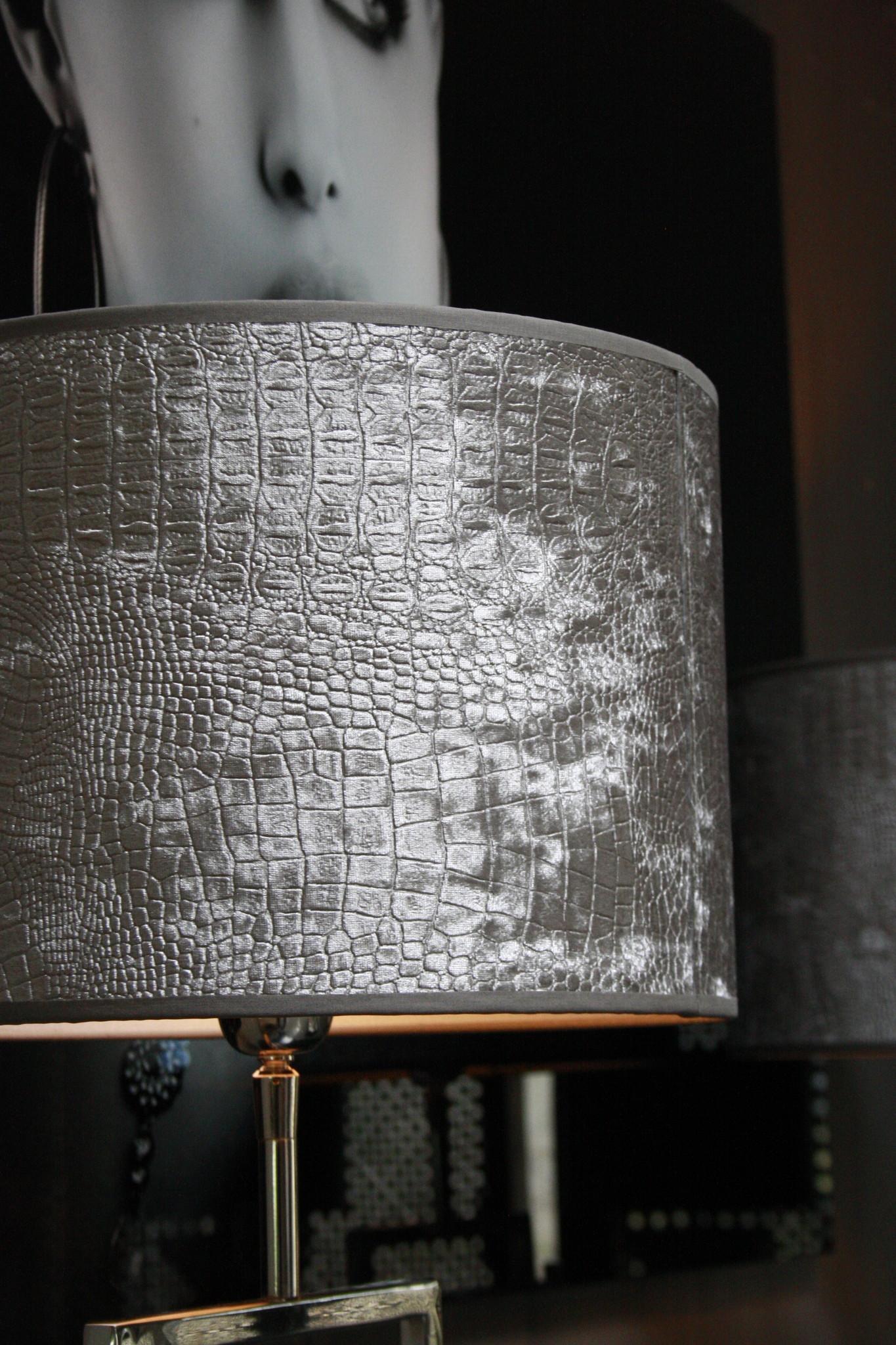 *Uitverkocht Tafellamp RVS + Velours kap Eric Kuster Stijl-4