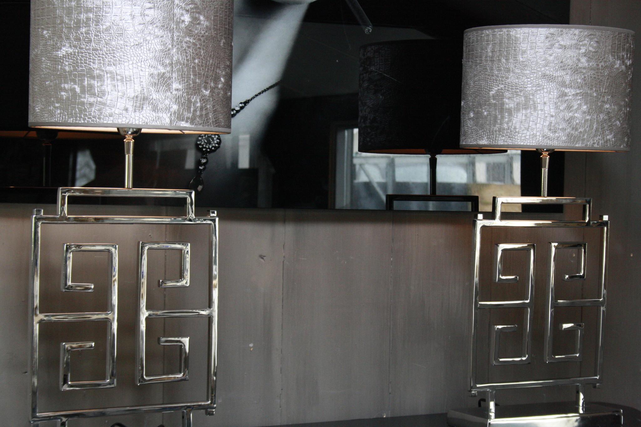 *Uitverkocht Tafellamp RVS + Velours kap Eric Kuster Stijl-6