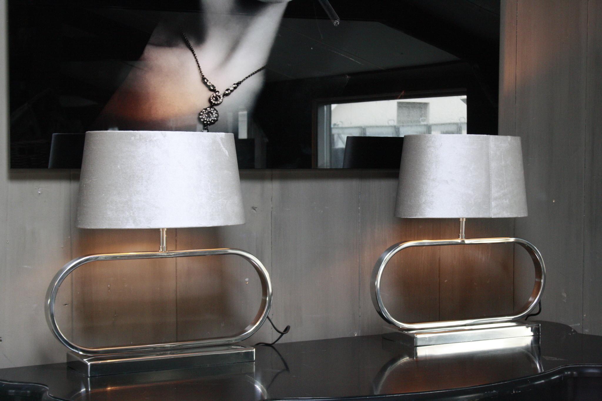 Tafellamp Ovaal RVS + Velours kap Eric Kuster Stijl-2