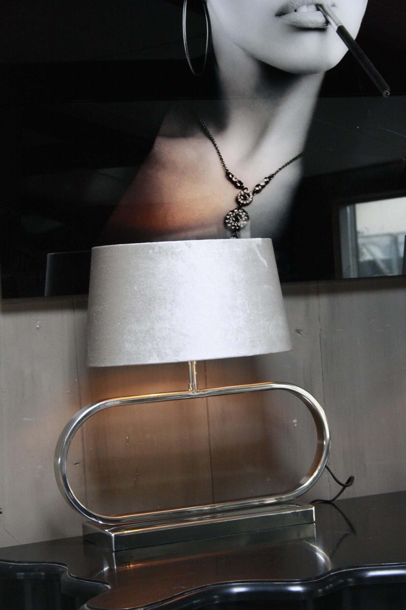 Tafellamp Ovaal RVS + Velours kap Eric Kuster Stijl-3