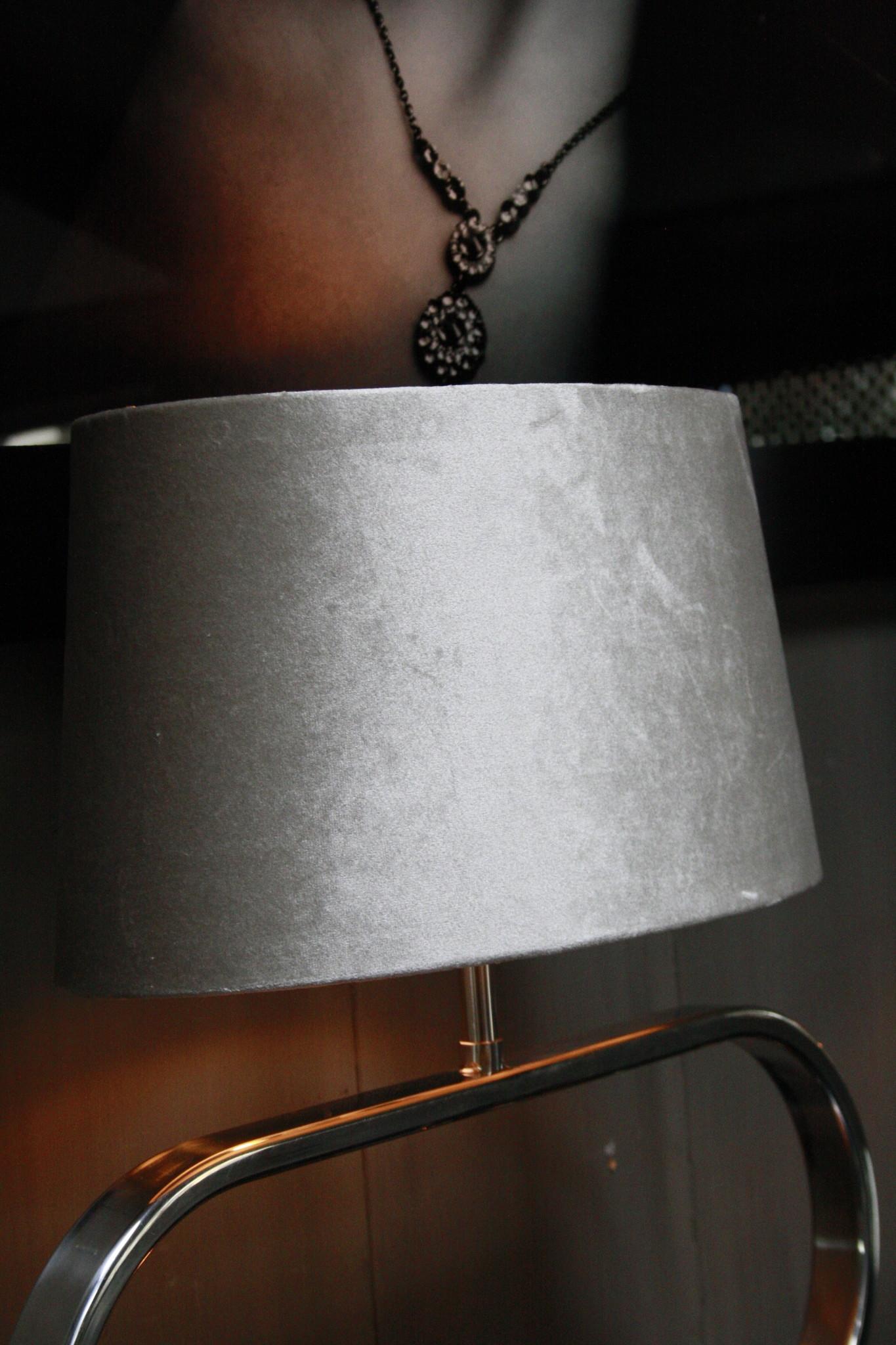 Tafellamp Ovaal RVS + Velours kap Eric Kuster Stijl-4