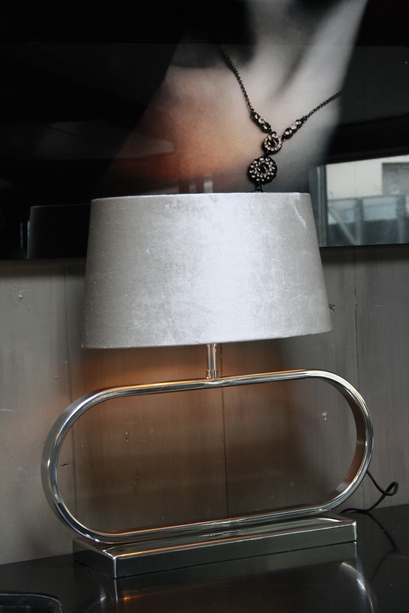 Tafellamp Ovaal RVS + Velours kap Eric Kuster Stijl-5