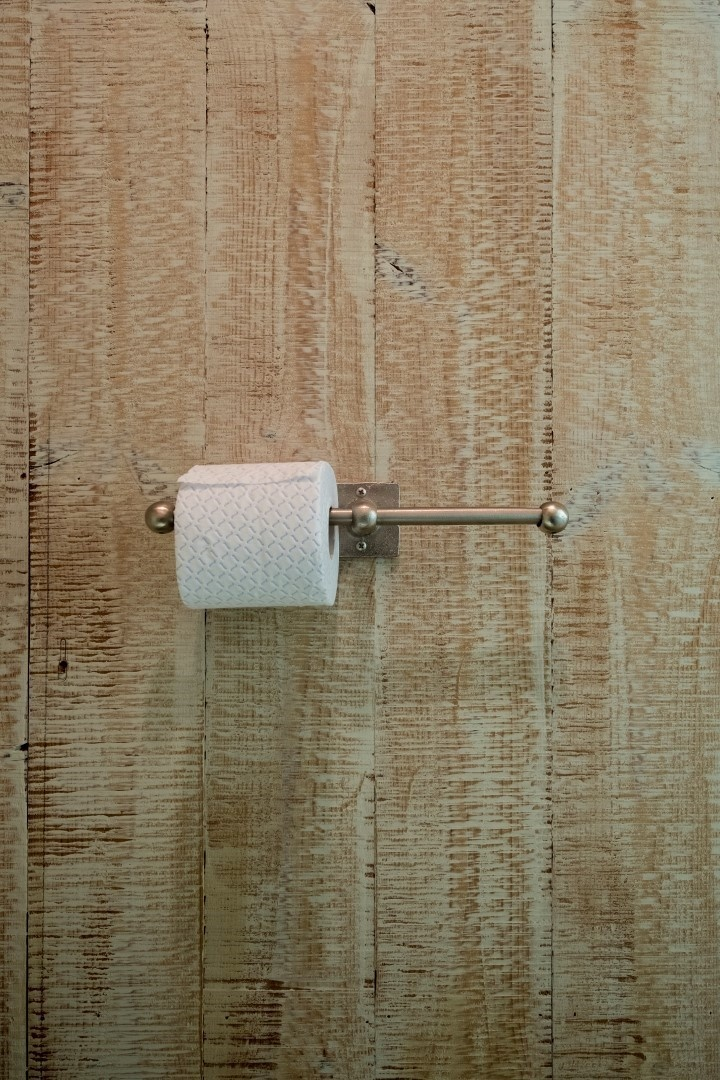 Dubbele toiletrolhouder mat wit brons 35 cm-1