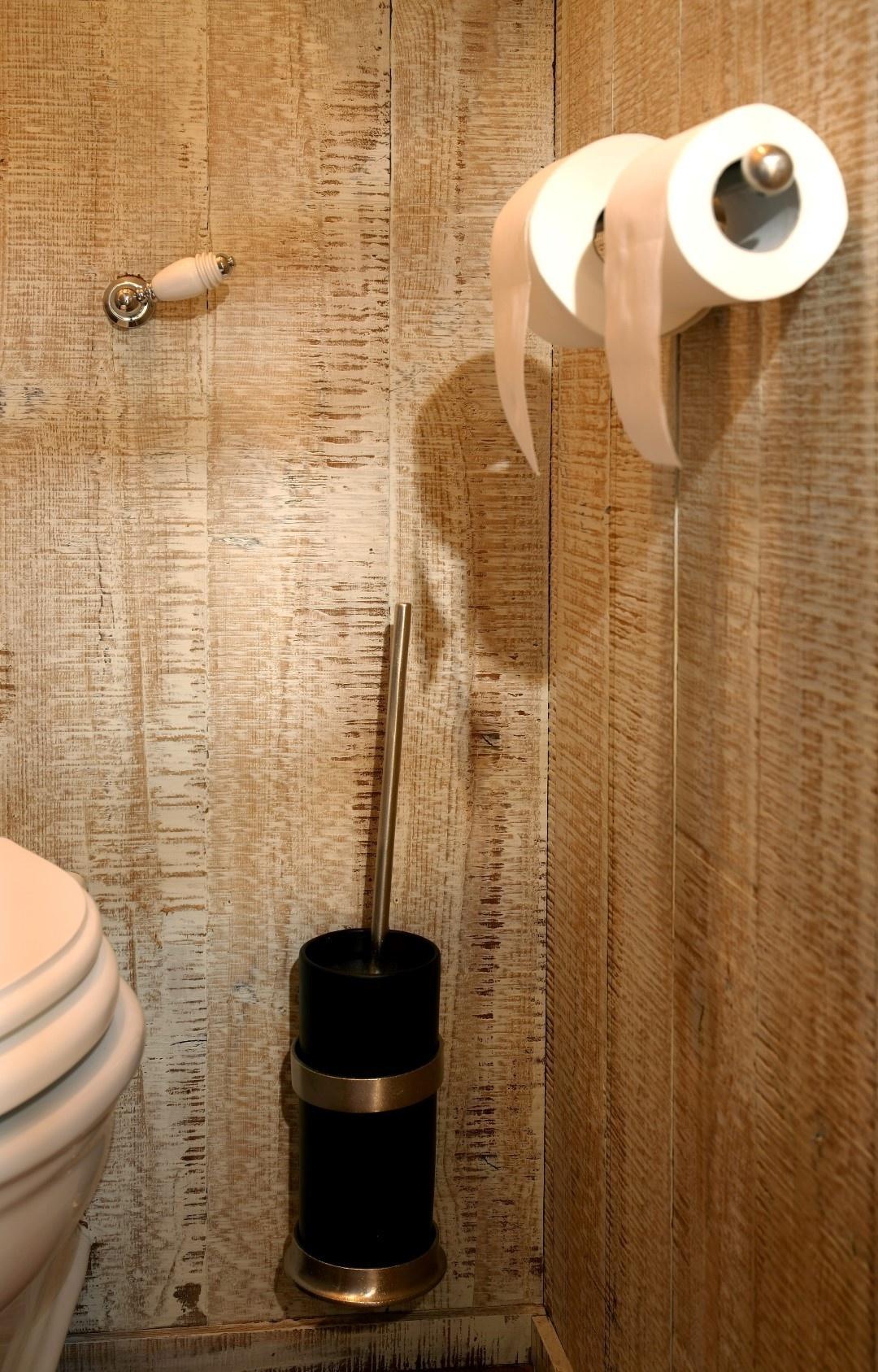 Dubbele toiletrolhouder mat wit brons 35 cm-2