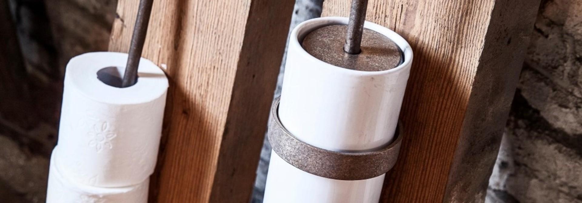 Toiletrolhouder ruw brons 15 cm links