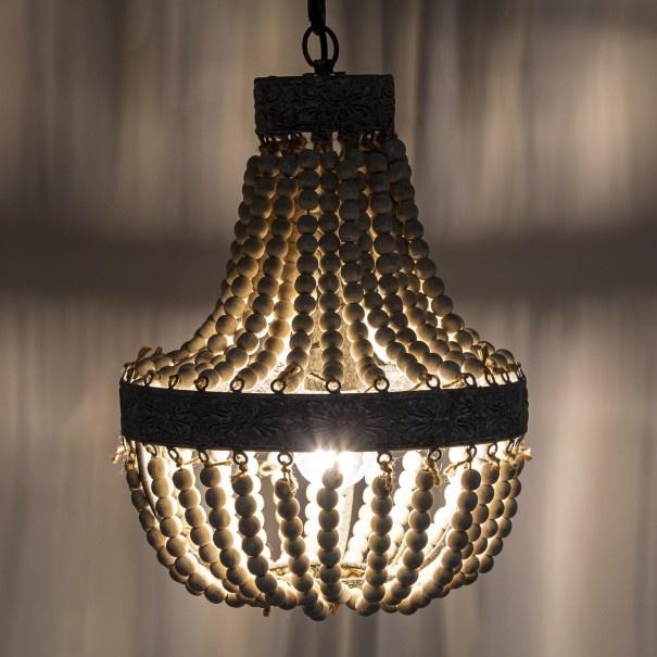 Kralen Hanglamp Wit S Rosalie 40 x 30,5 cm-1