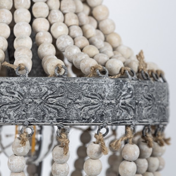 Kralen Hanglamp Wit S Rosalie 40 x 30,5 cm-5