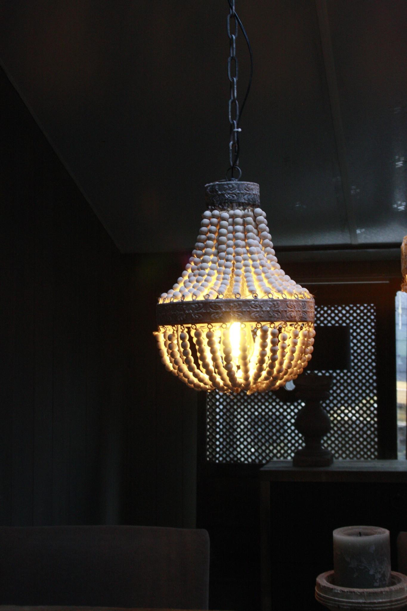 Kralen Hanglamp Wit S Rosalie 40 x 30,5 cm-2