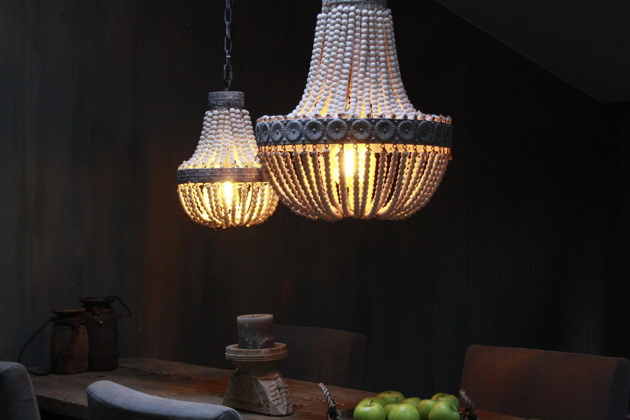 Kralen Hanglamp Wit S Rosalie 40 x 30,5 cm-3