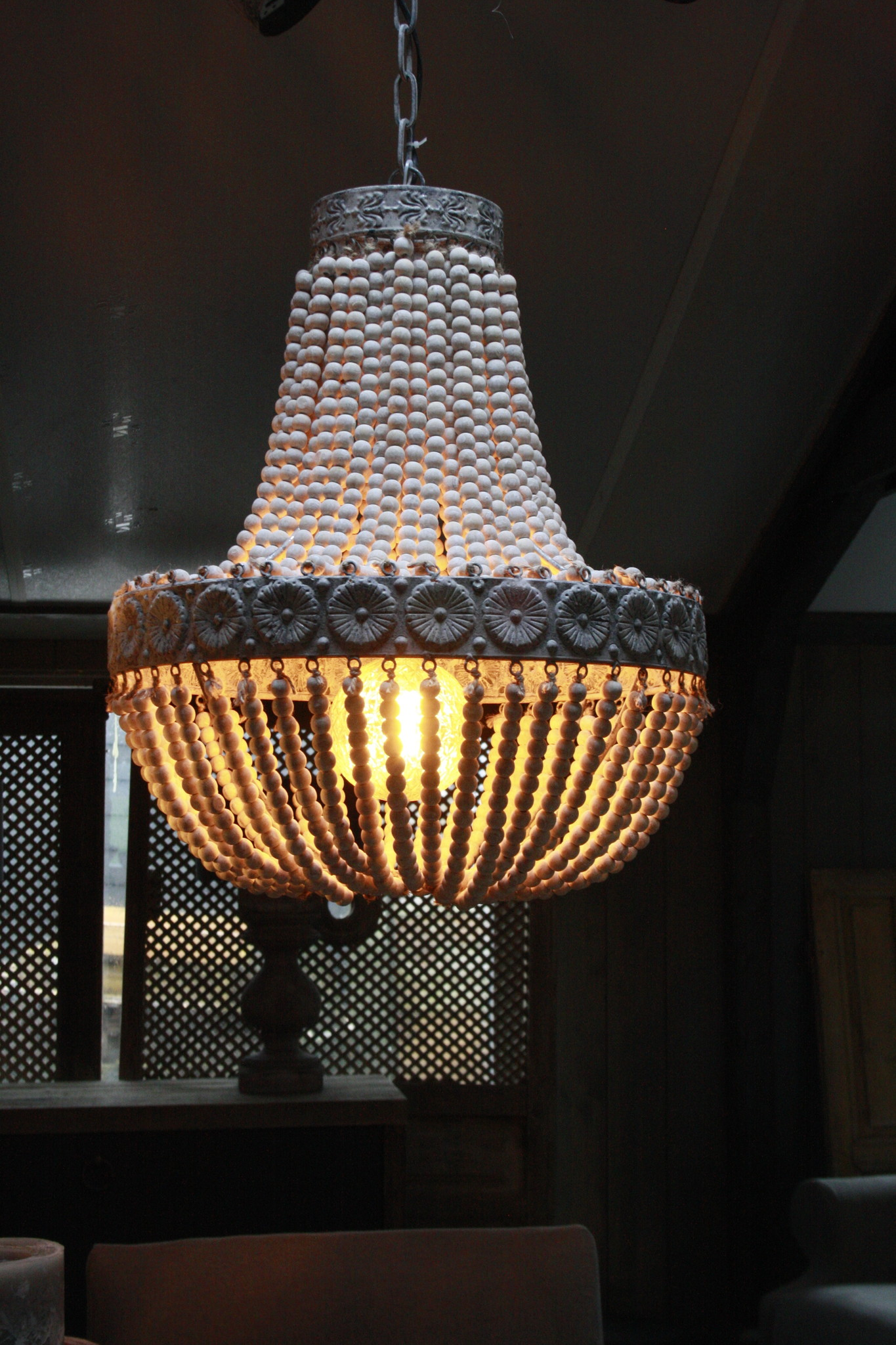 Kralen Hanglamp Wit XL Rosalie 62 x 51 cm-1