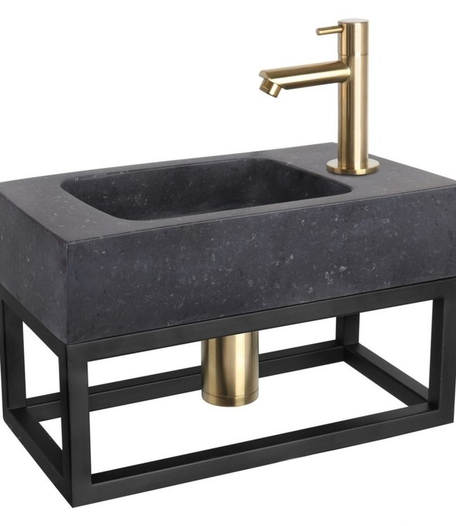Rene Houtman Leida fonteinset - Natuursteen - Kraan mat goud