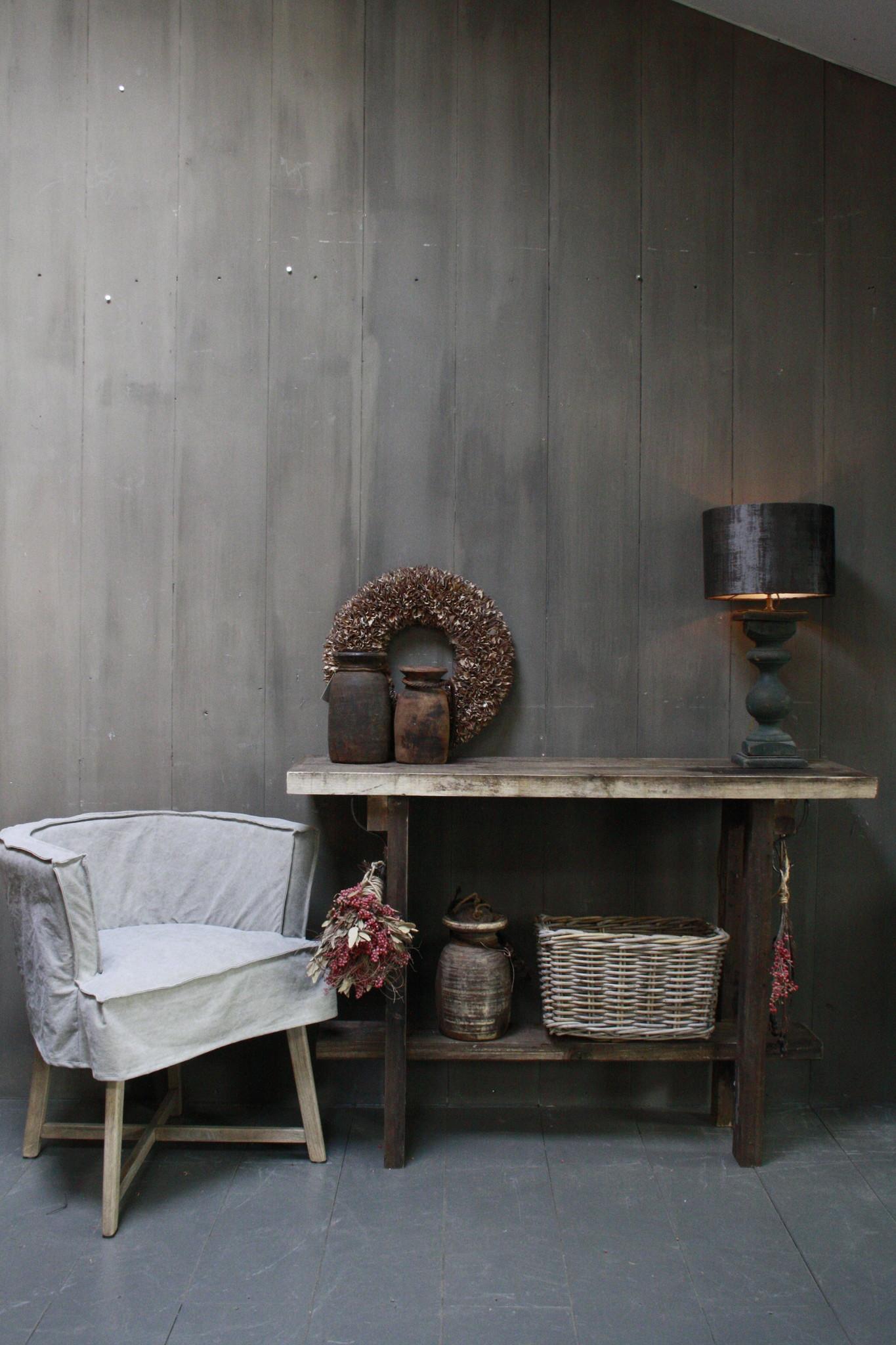 Massief oud houten wandtafel/sidetable Liedi-2