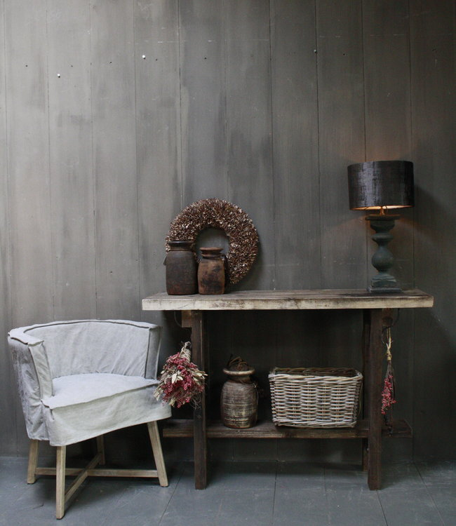 Rene Houtman Massief oud houten wandtafel/sidetable Liedi