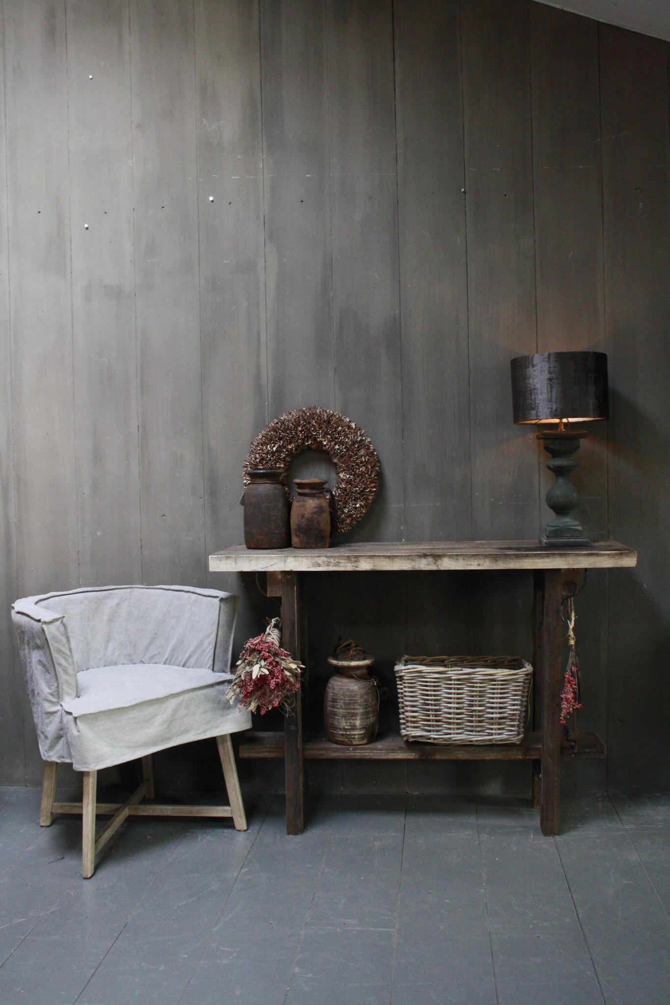 Massief oud houten wandtafel/sidetable Liedi-1