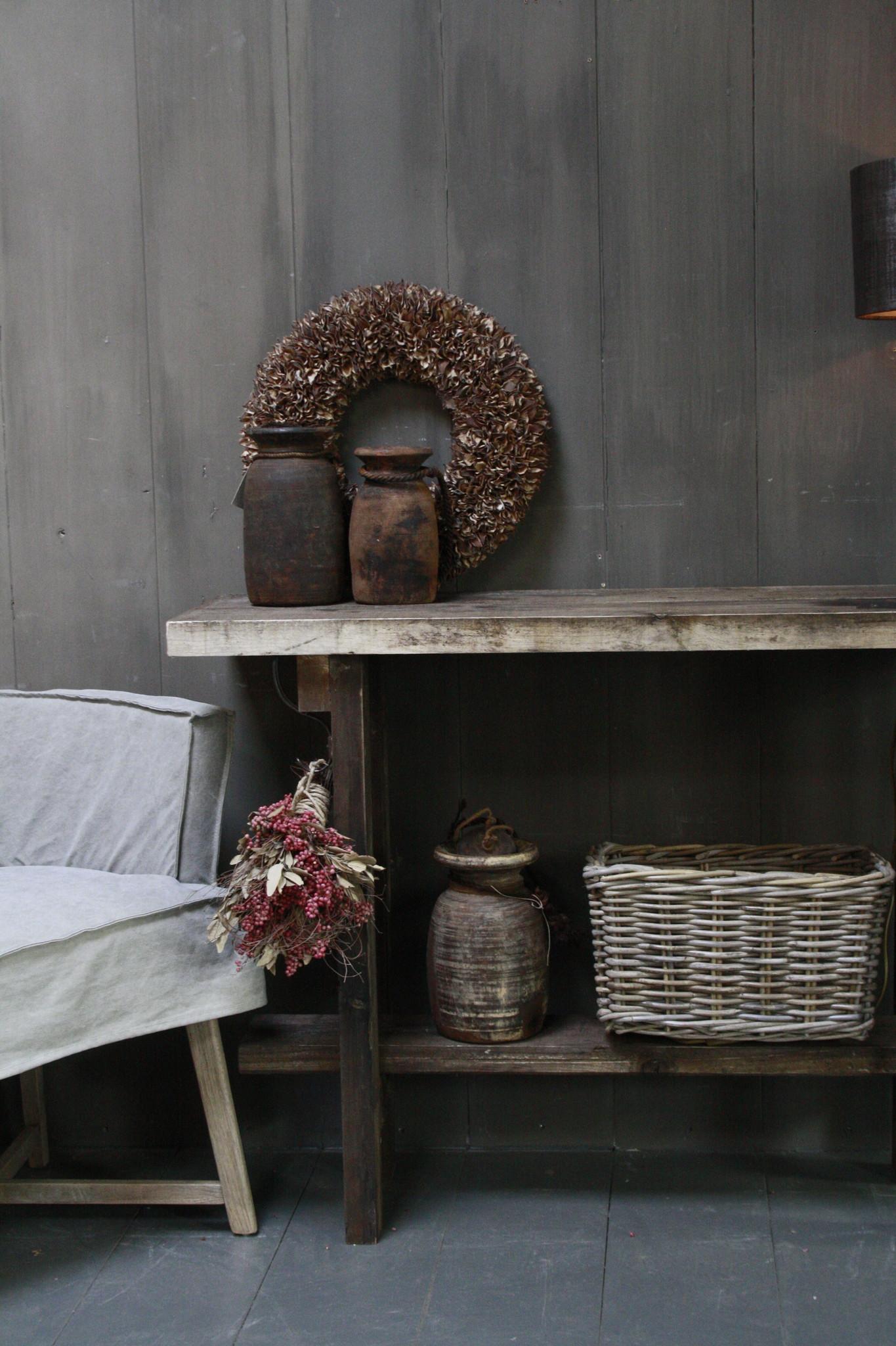 Massief oud houten wandtafel/sidetable Liedi-3