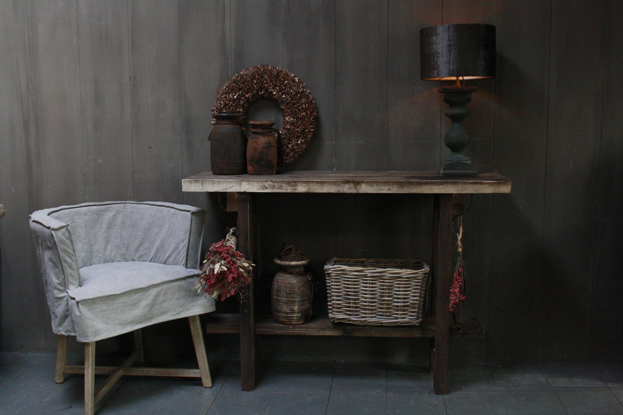 Massief oud houten wandtafel/sidetable Liedi-5