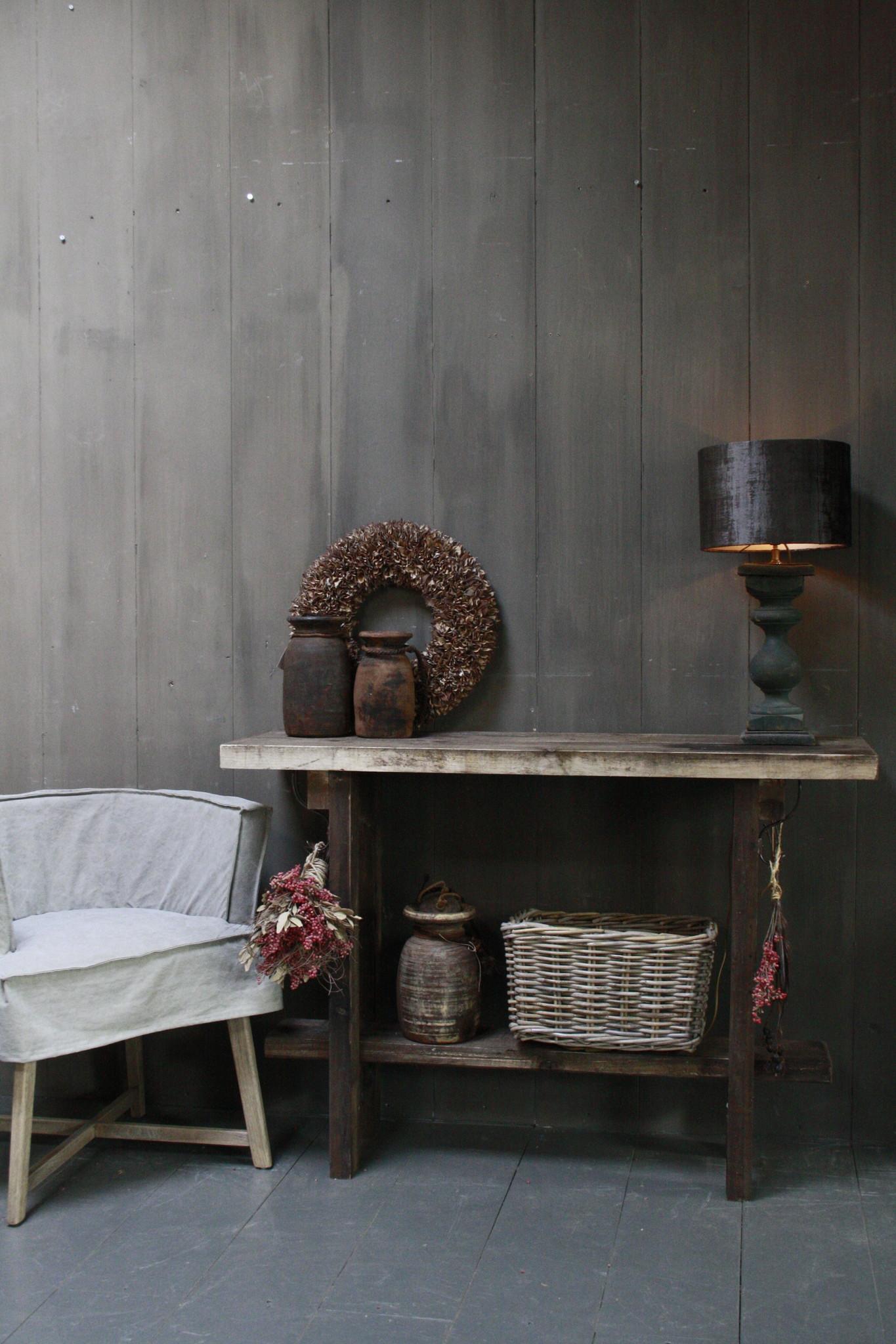 Massief oud houten wandtafel/sidetable Liedi-6