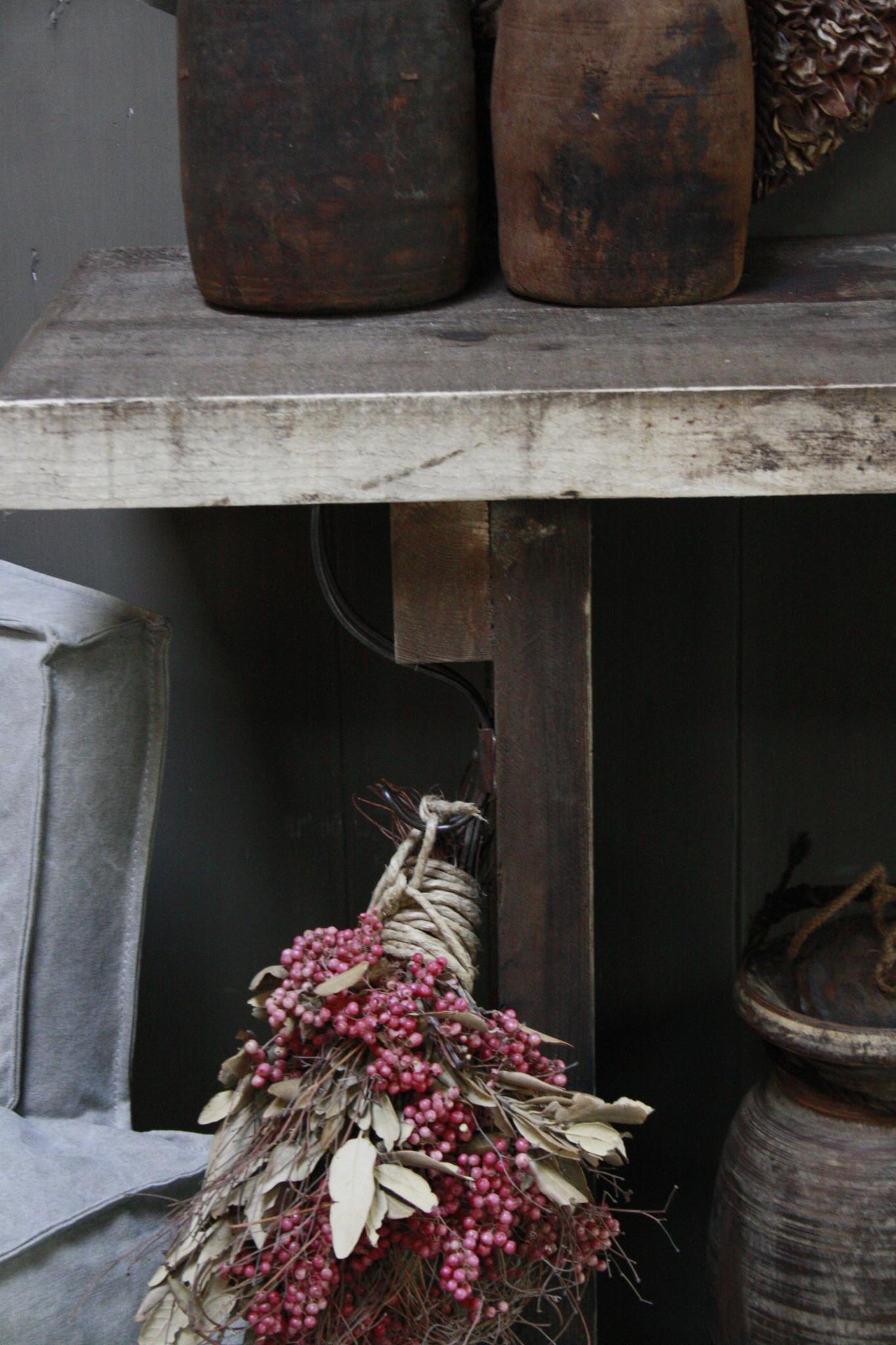Massief oud houten wandtafel/sidetable Liedi-9
