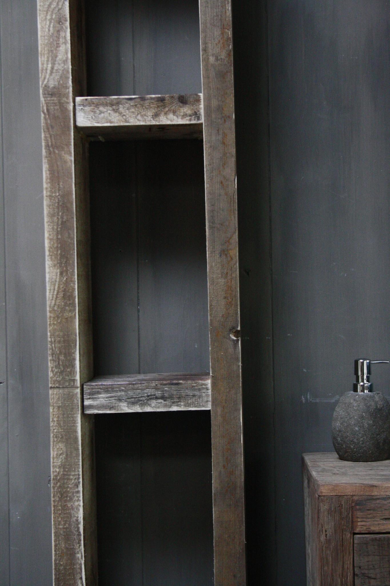 Massief oud houten badkamerkast/handdoekenkast-3