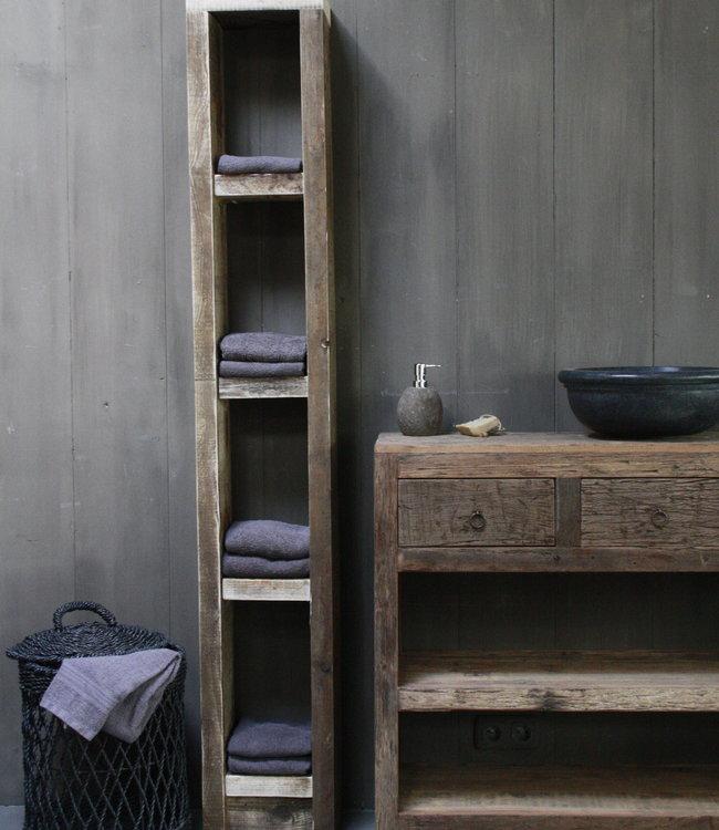 Rene Houtman Massief oud houten badkamerkast/handdoekenkast