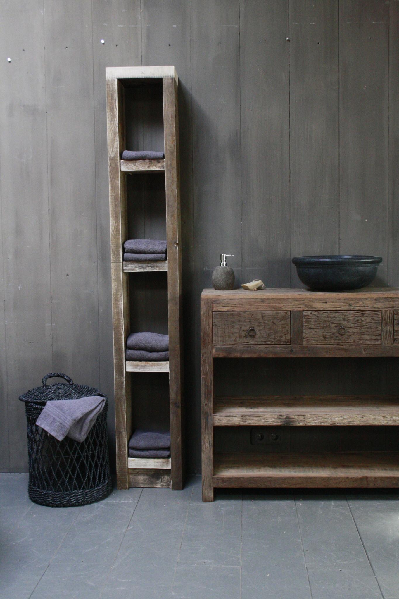Massief oud houten badkamerkast/handdoekenkast-2