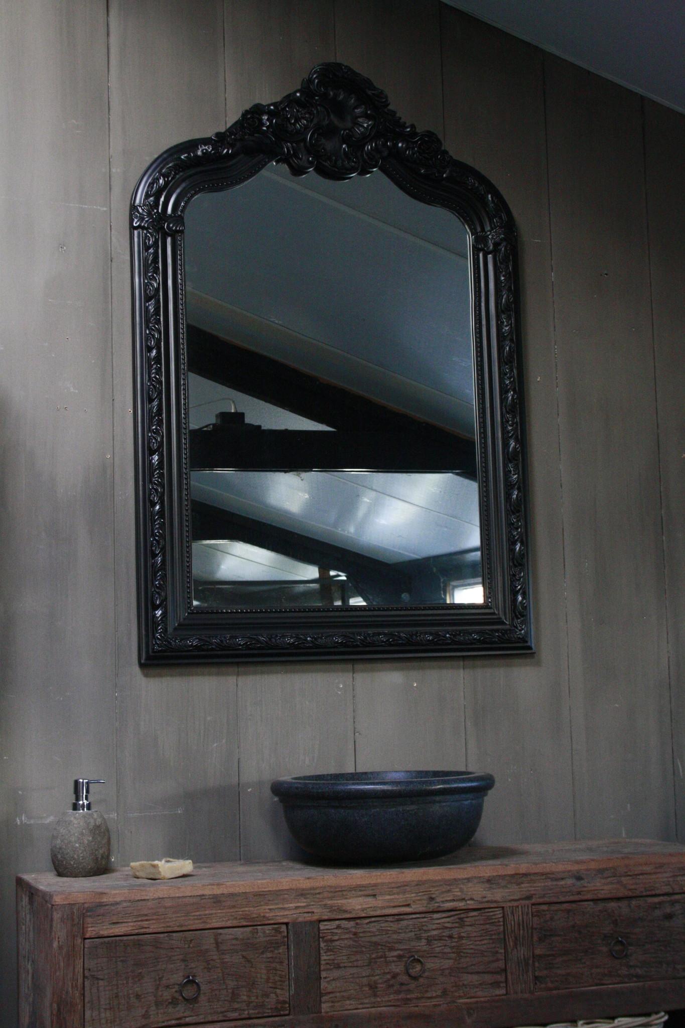 Kuifspiegel Barok Roma Black 117 x 80 cm-2