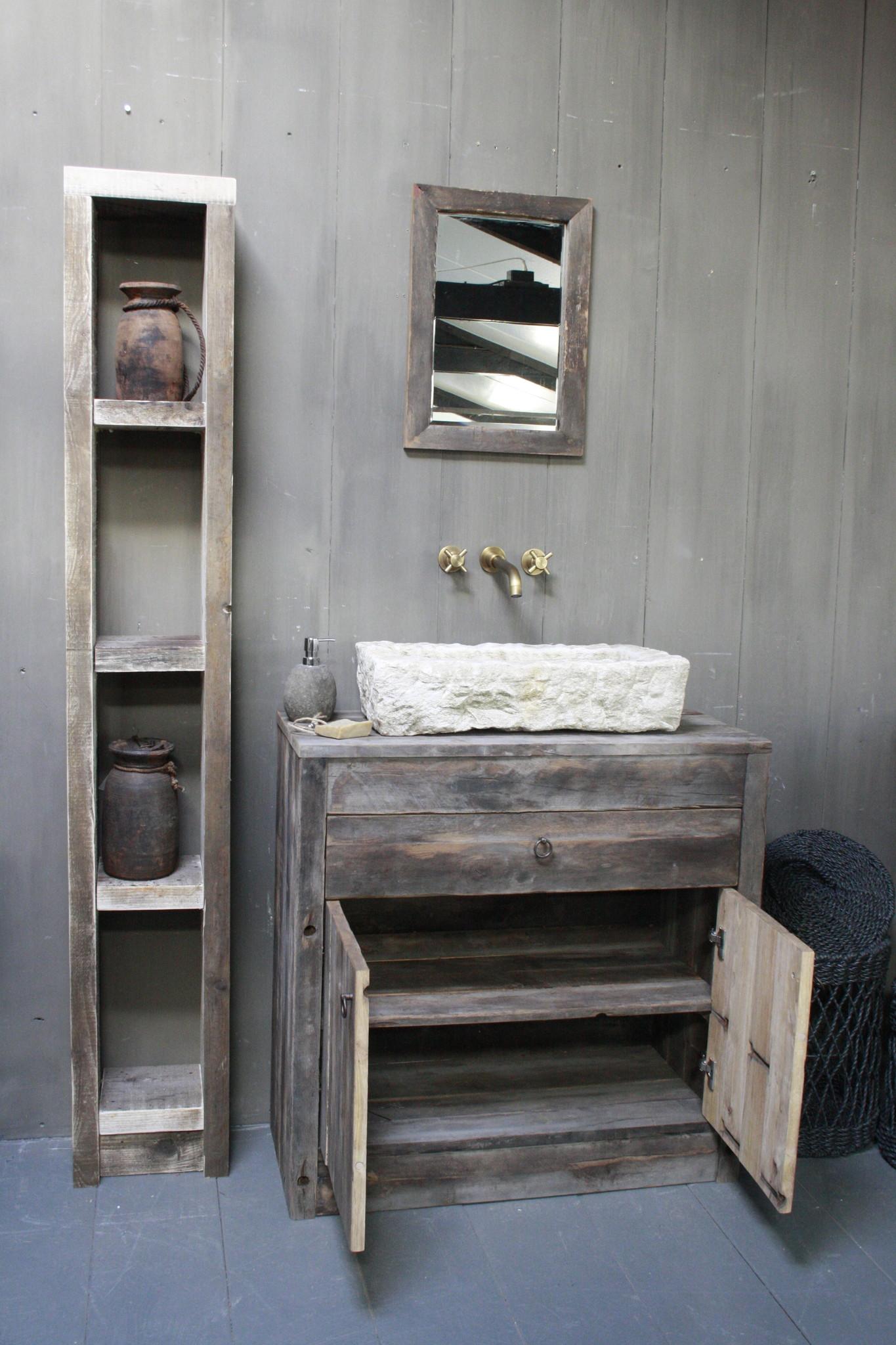 Oud Eikenhouten Badkamermeubel 90 x 90 cm met lades en deurtjes-3